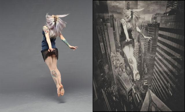 Foto e composizione di Renee Robyn, il prima e il dopo
